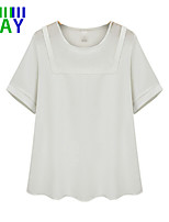 ZAY Women's Casual Solid Short Sleeve T-shirt Plus Size