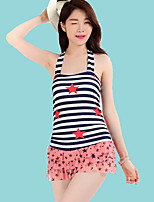 Women's Halter One-pieces , Color Block Polyester Blue/Red/Black