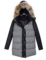 Women's Vintage/Casual/Party/Work/Plus Sizes Medium  Long Trench Upset Down Cotton Padded Jacket (PU/Feather)