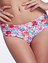The Fille Women's Women's Cute Bowknot/Mid Waist/ Floral Watercolor Bikini Panties