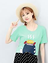 Women's Print Green T-shirt , Round Neck Short Sleeve