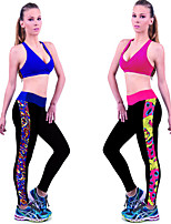 Women Cotton/Others Medium Print/Cross - spliced Legging Women Sports Fitness Elasticity Tights  Legggings