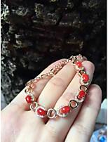 925 Silver Red Coral Studded Bracelet