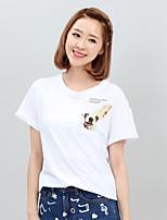 Women's Print/Patchwork White T-shirt , Round Neck Short Sleeve
