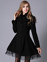 Women's Solid/Lace Red/White/Black Coat , Vintage/Party Long Sleeve Wool Blends