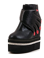 Women's Shoes Platform Combat Boots/Round Toe Boots Casual Black/Silver