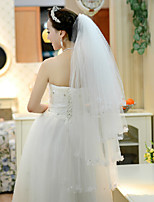 Wedding Veil Four-tier Fingertip Veils Lace Applique Edge
