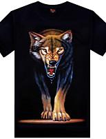 Men's 3D O-Neck Short-sleeve Wolf Printing T-Shirt (Cotton)