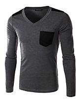 JOGAL Men's Casual/Work Pure Long Sleeve Regular T-Shirt (Cotton/Polyester)
