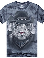 3D Printing Round Neck Short-sleeve Tiger T-Shirt (Cotton)