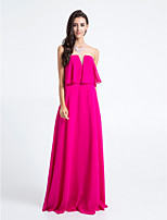Homecoming Floor-length Chiffon Bridesmaid Dress - Fuchsia Sheath/Column Strapless