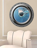 Wall Stickers Wall Decals, 3D Ocean Shark Window PVC Wall Sticker