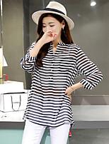 Women's Striped Shirt , Shirt Collar ½ Length Sleeve