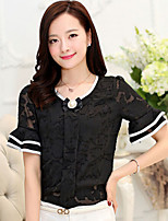 Women's Solid Blue/Pink/White/Black Blouse , Round Neck Short Sleeve
