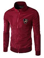 JOGAL Men's Casual/Work Print/Pure Long Sleeve Regular Jacket (Cotton/Cotton Blend)