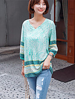 Women's Casual Inelastic Long Sleeve Regular Blouse (Others)