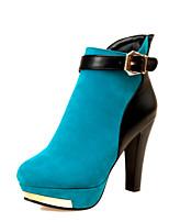 Chaussures Femme - Bureau & Travail / Habillé / Décontracté - Noir / Bleu / Rouge - Talon Cône - Bout Arrondi / Bout Fermé - Bottes - Daim