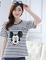 Women's Print/Striped Blue/Red T-shirt , Round Neck Short Sleeve