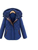 Women's Patchwork Blue Parka Coat , Casual/Plus Sizes Hooded Long Sleeve Pocket