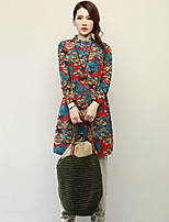 Women's Casual/Print/Cute/Plus Sizes Contrast Color Inelastic Long Sleeve Ethnic Print Long Shirt (Cotton/Linen)