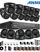 ANNKE® 16CH DVR eCloud HDMI 1080P/VGA/BNC Output 16pcs 900TVL CMOS 24LEDS Day/Night IR-cut Cameras IP66