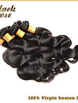 Black Rose Hair  Wavy Virgin Brazilian Hair Human Hair Weave 3 Piece Brazilian Body Wave 8-30inch (Natural Black Color)