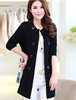 Women's Spring New Double Breated Round Slim Solid Cardigan Coat