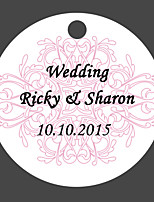 Personalized Circular Wedding Favor Tags - White & Red Design (Set of 36)