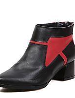 Zapatos de mujer - Tacón Robusto - Puntiagudos - Botas - Casual - Cuero Sintético - Negro / Bermellón