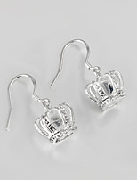 Wedding Dress Crown Design Silver Plated Drop Earrings for Lady
