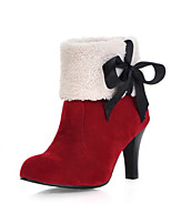 Women's Shoes Chunky Heel Fashion Boots/Round Toe Boots Office & Career/Dress/Casual Black/Brown/Pink/Red