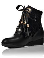 Zapatos de mujer - Tacón Cuña - Punta Redonda / Botas a la Moda - Botas - Vestido / Casual - Semicuero - Negro / Rojo / Blanco / Beige