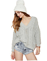 Women's BF Style V Neck Drop Shoulder Long Sleeve Solid Loose Twist Knitted Sweater Sueter