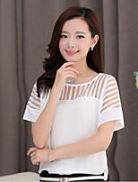 Women's Casual/Work Micro-elastic Short Sleeve Regular Blouse (Chiffon)