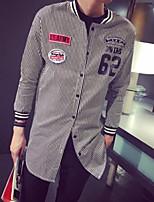 Men's Casual Striped Long Sleeve Long Shirt