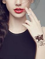 5Pcs Waterproof Brown Butterflies Aand Rose Pattern Temporary Body Art Tattoo Sticker