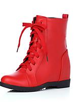 Zapatos de mujer - Tacón Cuña - Cuñas / Punta Redonda / Botas a la Moda - Botas - Vestido / Casual - Semicuero - Negro / Rojo / Blanco