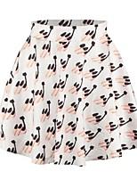 De las mujeres Faldas - Mini Vintage/Casual/Con Estampado/Bonito/Fiesta Microelástico - Licra/Poliéster
