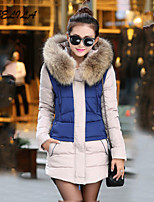 Women's Casual Print Artificial Fox Fur Collar Plus Size Thick Long White Duck Down Coat