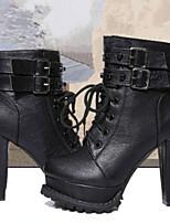 Damenschuhe - Stiefel - Lässig - Kunstleder - Blockabsatz - Modische Stiefel - Schwarz / Braun