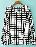 Women's Vintage/Casual/Party/Work/Plus Sizes Micro-elastic Long Sleeve Regular Blouse (Chiffon)