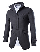 Men's Long Sleeve Long Trench coat , Tweed Pure