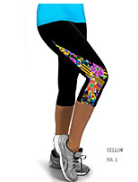 Women Cotton/Others New Capri Leggings High Waisted Patch Work Workout Fitness Legging Pant