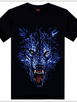 Men's 3D O-Neck Short-sleeve Wolf Printing T-Shirt (Cotton)