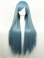 New Anime Cosplay Blue And White Long Straight Hair Wig 80CM