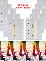 3PCS Colorful Tattoos+10PCS Flash Tattoo Gold Tattoo Body Metallic Tattoo Taty Tatouage Temporary Tattoo Sticker