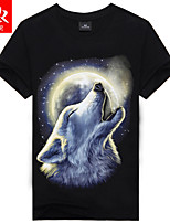 Men's Casual/Sport Print Short Sleeve Regular T-Shirt (Cotton Blend)