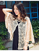 Women's Sexy Casual Print Lace Inelastic ¾ Sleeve Long Vest (Lace)