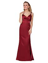 Floor-length Satin Chiffon Bridesmaid Dress -Sheath/Column V-neck,Straps