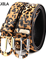 Men Vintage/Party/Work/Casual Calfskin Waist Belt buckle leather first layer of leather business casual leopard